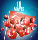 19th may commemoration of Ataturk, youth and sports day Turkish Speak: 19 mayis Ataturk`u anma, genclik ve spor bayrami. Turkish holiday greeting card. Vector Royalty Free Stock Photo