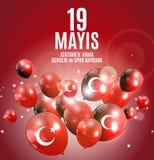 19th may commemoration of Ataturk, youth and sports day Turkish Speak: 19 mayis Ataturk`u anma, genclik ve spor bayrami. Turkish holiday greeting card. Vector Stock Images