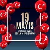 19th may commemoration of Ataturk, youth and sports day Turkish Speak: 19 mayis Ataturk`u anma, genclik ve spor bayrami. Turkish holiday greeting card. Vector Stock Photo