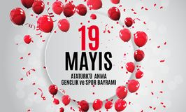 19th may commemoration of Ataturk, youth and sports day Turkish Speak: 19 mayis Ataturk`u anma, genclik ve spor bayrami. Turkish holiday greeting card. Vector Stock Illustration