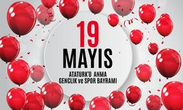 19th may commemoration of Ataturk, youth and sports day Turkish Speak: 19 mayis Ataturk`u anma, genclik ve spor bayrami vector illustration