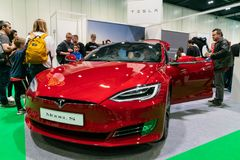 Tesla Model S At London Motor Show 2019. 18th May 2019. London, UK. Electric red Tesla Model S displayed at London Motor Show 2019 royalty free stock images