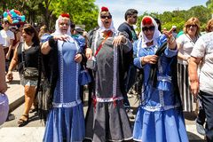 15th May 2019 – Madrid, Spain: old women in traditional chulapa dresses during the San Isidro Festival. Of Madrid stock photography