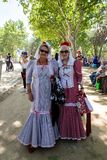 15th May 2019 – Madrid, Spain: old women in traditional chulapa dresses during the San Isidro Festival. Of Madrid stock photo