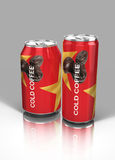 28th may 2017, Vector illustration of COLD COFFEE Tin,Dubai. Vector illustration of Cold coffee can, on grey and white background.Red and yellow aluminum can stock illustration