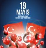 19th może uczczenie Ataturk, młodość i sporta dnia turecczyzna Mówi: 19 mayis Ataturk ` u anma, genclik ve spor bayrami Obrazy Stock