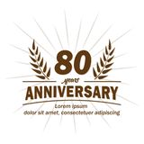 80th molde do projeto do aniversário 80th vetor e ilustração dos anos ilustração royalty free