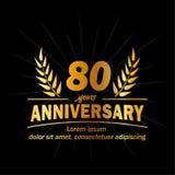 80th molde do projeto do aniversário 80th vetor e ilustração dos anos ilustração do vetor