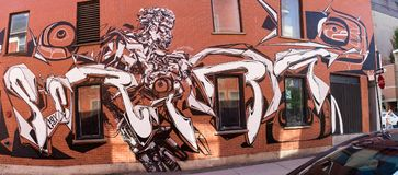 Street art wall. For 375th Montreal anniversary, street art titled Km2 from various artists. One work at each kilometre square in Show Quarter Stock Image