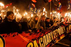 109th narodziny rocznica Stepan Bandera w Kyiv Zdjęcia Stock