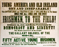 69th New York Recruitment Poster. Photo of a Civil War recruitment poster for the 69th New York State Volunteers of the famous Irish Brigade stock images