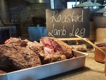 11th Nov 2016 Kuala Lumpur. Roasted Lamb Leg on the Buffet line for dinner. Roasted Lamb Leg for dinner royalty free stock photo