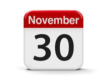 30th November. Calendar web button - The Thirtieth of November - World Day Pets and Computer Security Day, three-dimensional rendering, 3D illustration Royalty Free Stock Photos