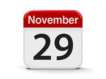 29th November. Calendar web button - The Twenty Ninth of November - International Day of Solidarity with the Palestinian People, three-dimensional rendering, 3D Stock Photography