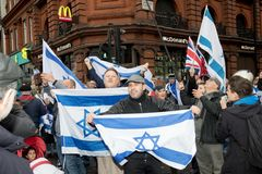 National Demo: Justice Now - Make it right for Palestine London. 4th November 2017, London, United Kingdom:-Pro Israeli protesters counter demonstrate a pro Royalty Free Stock Photos