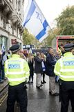 National Demo: Justice Now - Make it right for Palestine London. 4th November 2017, London, United Kingdom:-Pro Israeli protesters counter demonstrate a pro Royalty Free Stock Photo