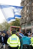 National Demo: Justice Now - Make it right for Palestine London. 4th November 2017, London, United Kingdom:-Pro Israeli protesters counter demonstrate a pro Royalty Free Stock Image