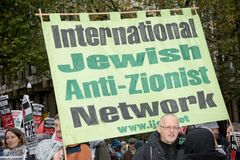National Demo: Justice Now - Make it right for Palestine London. 4th November 2017, London, United Kingdom:- Pro Palestine placards at a rally against the 1917 Royalty Free Stock Photos