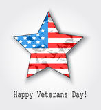 11th of November Veterans Day. Card American flag in the shape of a star with shadow Royalty Free Stock Photo