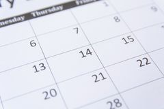 14th numbers on calendar page close up background stock images