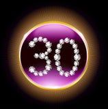 30th nummer för diamanter för inbjudan för kort för årsdag för lycklig födelsedag för år Royaltyfria Bilder