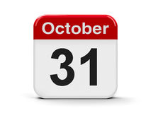 31th October. Calendar web button - Thirty first of October, three-dimensional rendering Royalty Free Stock Photography