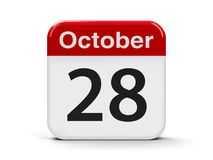 28th October. Calendar web button - The Twenty Eighth of October - International Animation Day, three-dimensional rendering, 3D illustration Stock Images