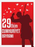 29th October National Republic Day of Turkey, Celebration Graphic Design.vector illustration. EPS 10. Soldier looak at enemy Stock Images