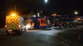 25th October 2018 Sheffield Stagecoach Train Tram Crash Major incident. Sheffields Stagecoach Super Tram Train has been derailed after it hit a lorry parked on stock video