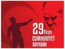 29th Oktober nationell republikdag av Turkiet, grafisk design för beröm Royaltyfri Fotografi