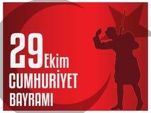 29th Oktober nationell republikdag av Turkiet, grafisk design för beröm Arkivbild
