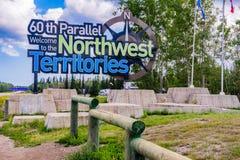 60th parallel. Border between Alberta and Northwest territories, highway 35 stock photo