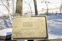 45th parallel sign, Traverse City, Michigan. Traverse CIty, Michigan, USA - February 14, 2018 :  Sign for 45th parallel marker at Old Mission point in Traverse Stock Image