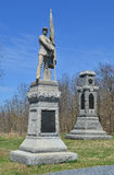 125th Pennsylvania Infantry Monument - Antietam National Battle Field. The 125th Pennsylvania and 34th New York Infantry Monuments with skyline background Stock Image