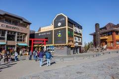 5th podłogowy turystyczny punkt który jest midpoint między Yoshida śladem i Fujiyoshida Sengen świątynią przy bazą m, fotografia stock