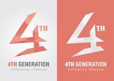 4th pokolenie ikony symbol od abecadło listu liczba 4 Zdjęcie Stock