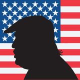 45th President of the United States Donald Trump Portrait Silhouette with American Flag Stock Photos