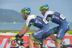 50th Presidential Cycling Tour of Turkey. Marmaris, Turkey - April 30, 2014: Mitchell Docker (left) and Jens Mouris from Orica - GreenEDGE team on the finish of Stock Photos