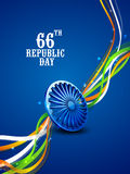66th Republic Day celebration concept. 3D Ashoka Wheel with shiny national flag color stripes on blue background for 66th year of Indian Republic Day Royalty Free Stock Photos