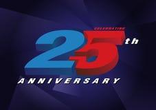25th rocznicowa świętuje 3d loga czerwień i błękitny kolor na błękicie Ilustracja Wektor