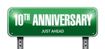 10th rocznicowa drogowego znaka ilustracja Obraz Stock