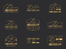 25th rocznicowa logo kolekcja Zdjęcia Royalty Free