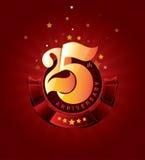 25th Rocznicowa odznaka z Czerwonym faborkiem na Abstrakcjonistycznym tle Obraz Royalty Free