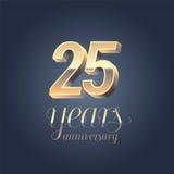 25th rocznicowa wektorowa ikona, logo Zdjęcia Stock