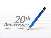 20th rocznicowa wiadomość znaka ilustracja Obraz Royalty Free