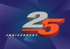 25th rocznicowe świętuje 3d loga szarość i błękitny kolor na szarość Royalty Ilustracja
