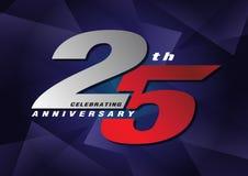 25th rocznicowe odświętność loga szarość i błękitny kolor Ilustracji