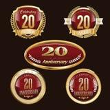 20th Rocznicowi emblematy ustawiający royalty ilustracja