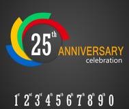 25th Rocznicowy świętowania tło, 25 rok rocznicy karty ilustraci Zdjęcie Stock