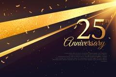 25th rocznicowy świętowanie karty szablon Obraz Royalty Free